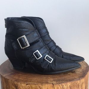 Zara Black Python Leather Ankle Boot Buckle Straps